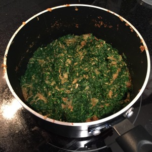 Step 6 - Incorporate spinach into the onion mixture.