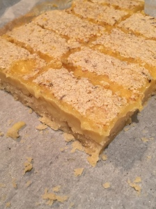 Profile view of lemon bars
