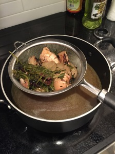 Strain stock into a pot