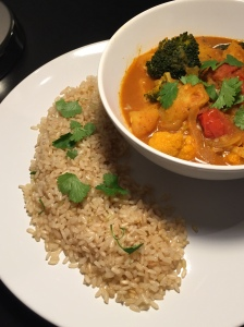 Coconut vegetable curry with coconut brown rice